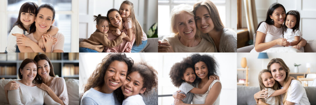 Collage mosaic banner with happy beautiful multiethnic diverse mommies and children cuddling looking at camera posing for family closeup headshot face portraits of moms with kids. Mothers day concept.