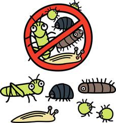 植物につく害虫予防のイラストセット