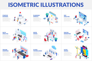 Isometric 3d illustrations set. Online shopping, planning, data analysis and startup business with characters