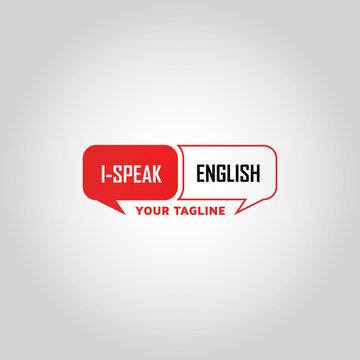 Speaking English vector logo design template