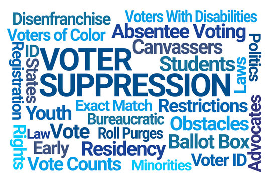 Voter Suppression Word Cloud on White Background