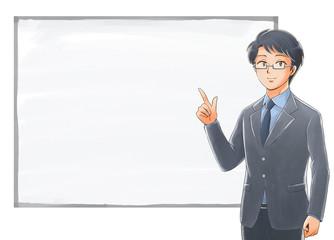 ホワイトボードの前で指を指す社会人のイラスト