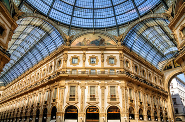 Poster Milan Galleria Vittorio Emanuele II is Italy's oldest active shopping mall and a major landmark of Milan, Italy.