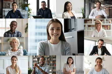 Headshot screen application view of multiracial businesspeople have team webcam conference using...