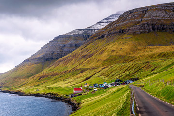 Wall Mural - Village of Husar located on the island of Kalsoy in Faroe Islands