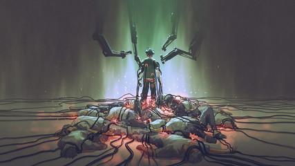 the human with an evil power the futuristic human holds the black cables for charging its power standing among the men lying down on the ground, digital art style, illustration painting