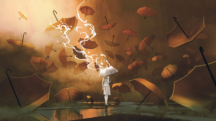 Foto op Aluminium Grandfailure woman with white umbrella standing among many orange umbrellas, digital art style, illustration painting