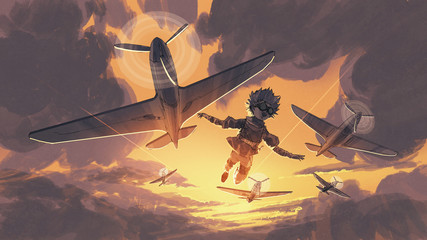 the boy flying in the sky with the planes, digital art style, illustration painting