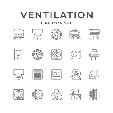 Set line icons of ventilation