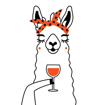 Vector illustration of llama with red glass of wine. Funny print design with animal, wall decoration paper