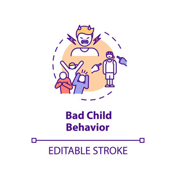 Bad child behavior concept icon. Parenting problems. Kids psychologist counseling idea thin line illustration. Childcare and social work. Vector isolated outline RGB color drawing. Editable stroke