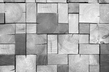 Background made of wooden cubes. Black and white