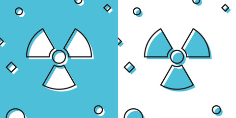Black Radioactive icon isolated on blue and white background. Radioactive toxic symbol. Radiation Hazard sign. Random dynamic shapes. Vector Illustration