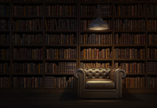Reading room in old library or house.Vintage style leather armchair with ceiling lamp.Night scene room.3d rendering