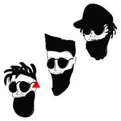 Men's male faces with beard glasses dreadlocks cap Hipster logo icon sign Cartoon design Fashion print clothes apparel greeting invitation card picture banner badge book poster flyer websites Vector