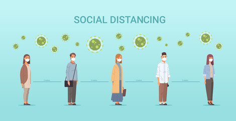 people in face masks men women standing line queue keeping distance to prevent covid-19 social distancing coronavirus pandemic health care concept horizontal full length vector illustration