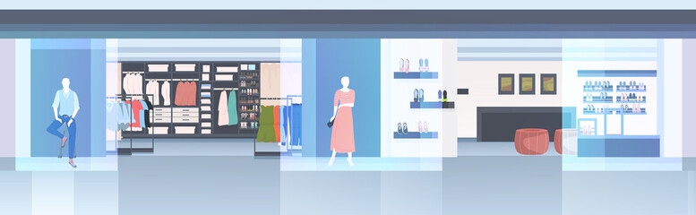 modern fashion shop interior empty n people clothes store horizontal vector illustration