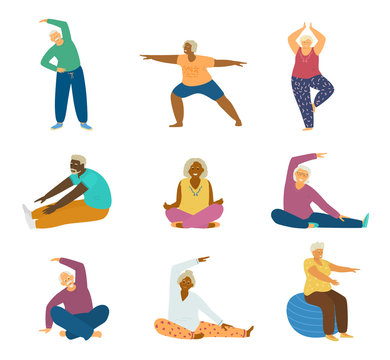 Vector set of different races elderly people doing fitness exercises and yoga. Stretching, lotus pose, tree pose, fit ball.Active and healthy lifestyle for seniors. Isolated. Flat vector illustration.