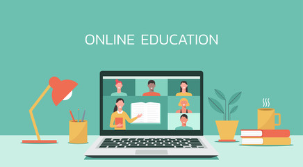 E-learning, online education, online course concept, home school, woman teacher teaching students on laptop computer screen, distance learning, new normal, vector flat illustration