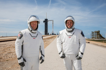 NASA astronauts Douglas Hurley and Robert Behnken participate in a dress rehearsal for launch at the agency's Kennedy Space Center