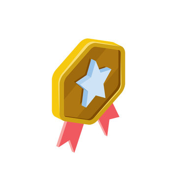 Medal star. Vector 3d isometric, color web icon, new flat style. Creative illustration design, isolated graphic idea for infographics.