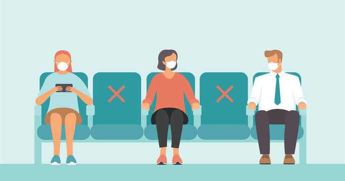 Social distance in public place. Seating regulations in airport area..People wearing mask to prevent infection from coronavirus COVID-19.