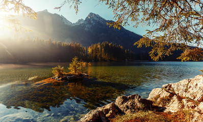 Fotomurales - Fantastic sunny morning over Hintersee lake . Scenic image of fairy tale Landscape with Majestic Rock Mountain on background. Wild area. Hintersee lake. Germany. Bavaria, Alps. Creative image