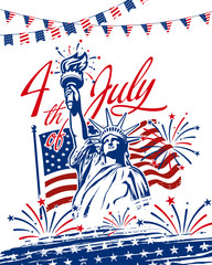 Celebrating 4th of July American independence day with statue of liberty, American waving flag in the back, garlands, grunge star brush stroke use for greeting postcard, sale banner, web slider, etc.