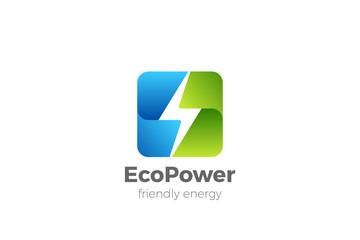 Wall Mural - Green Energy Power Electric Flash symbol Logo design vector template.