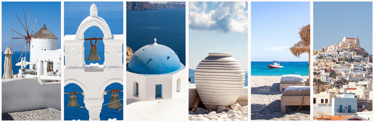 greece travel background collage of images