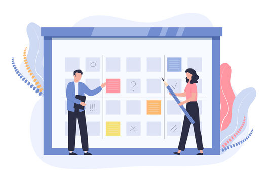 Concept of business planning, schedule, work control. A man with a tablet checks the list of plans. A woman with a pencil makes notes. Vector flat illustration on a white background