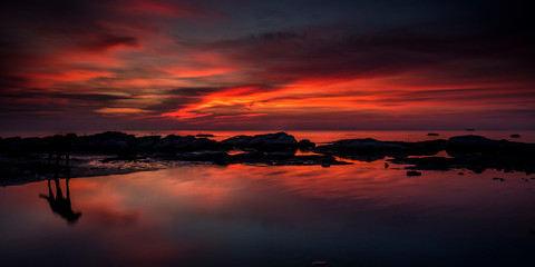 magical sunrise on the shore of Lake Malawi, African colours, Malawi, South-East-Africa