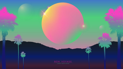 Aesthetic illustration of soft pastel neon mountain view cosmic landscape, nostalgic retrowave / vaporwave VHS vibes