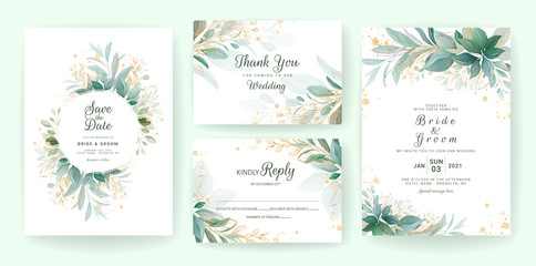 Fototapeta Golden greenery wedding invitation template set with leaves, glitter, frame, and border. Floral decoration vector for save the date, greeting, thank you, rsvp, etc obraz