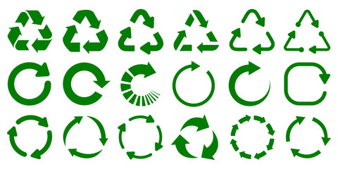 Set of green arrow recycle, means using recycled resources, recycling, arrows, recycle icon – stock vector