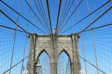 Wall Murals Brooklyn Bridge Brooklyn Bridge Against Clear Blue Sky