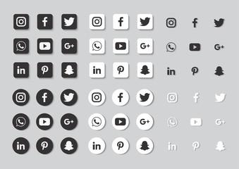 Social media icons set. facebook, twitter, instagram, youtube, linkedin, wechat, google plus, pinterest, snapchat isolated on white background.