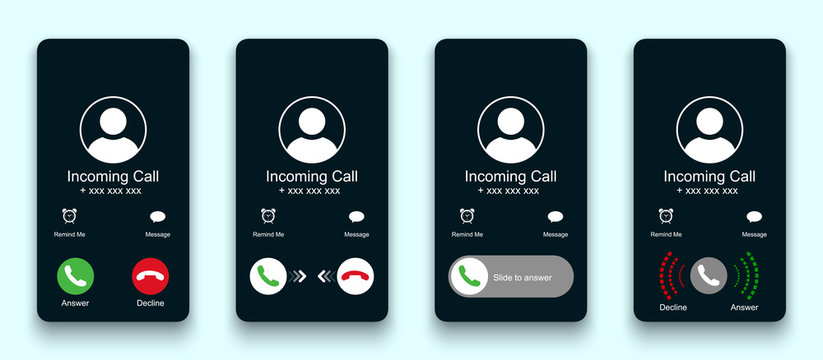 Mobile call screen template. Call screen smartphone interface mockup. Phone mockup contact with handset icon, flat person icon, take a phone, incoming call, answer and decline phone call buttons