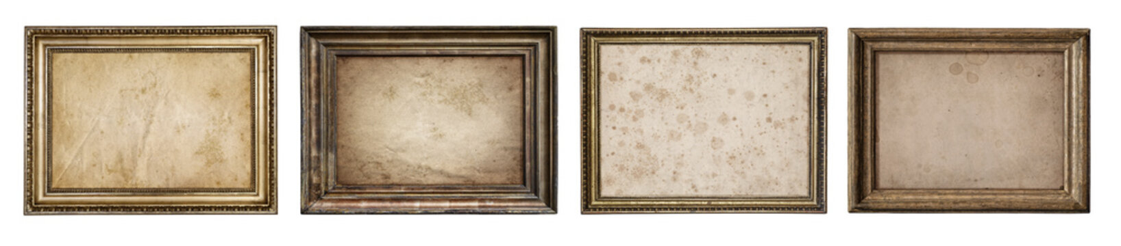 Collection of old wooden frames with canvas isolated on a white background. Artistic canvas and frames design element on the theme of art, creativity, painting, photography.