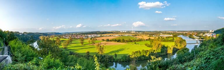Foto auf AluDibond Blau Panoramic Shot Of Landscape Against Sky