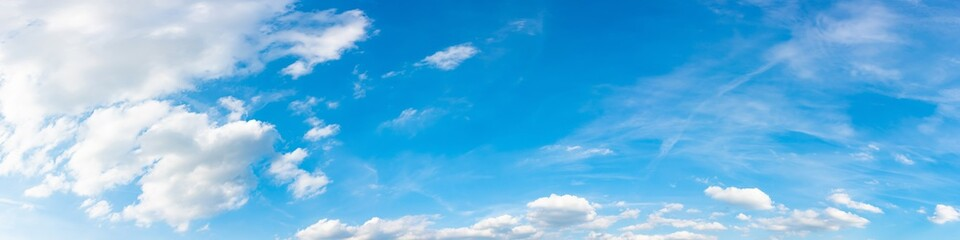 Panorama of a blue sky with white clouds as a backround
