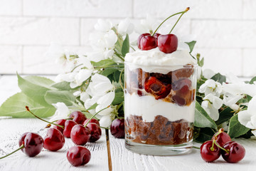 Trifle dessert made with fruit, a thin layer of sponge fingers soaked in sherry with chocolate, coffee or vanilla.