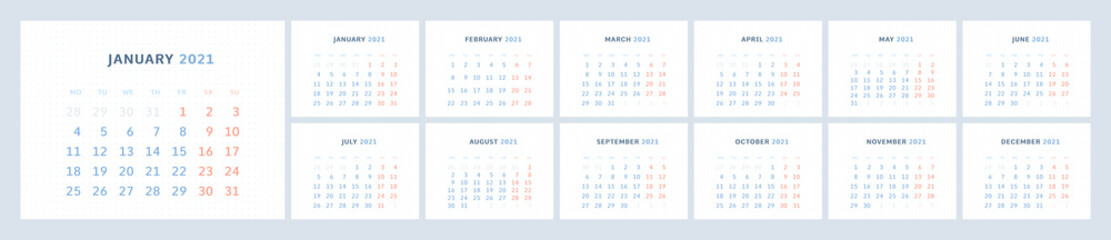 Wall quarterly calendar template for 2021 in a modern minimalist style. Week starts on Monday. Set of 12 months. Corporate Planner Template
