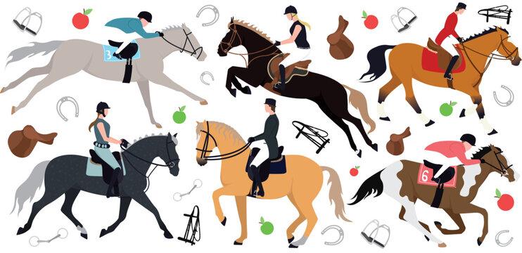 Horse riders. Illustration pattern horse, rider, stirrups, bit, horseshoe, saddle, bridle, apple, carrot. Illustration of jockeys on horseback and horse harness