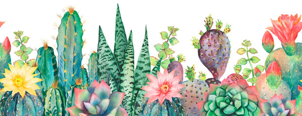 Watercolor seamless border cactus pattern.