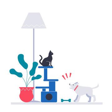 Puppy barks at the cat. Flat vector modern illustration.