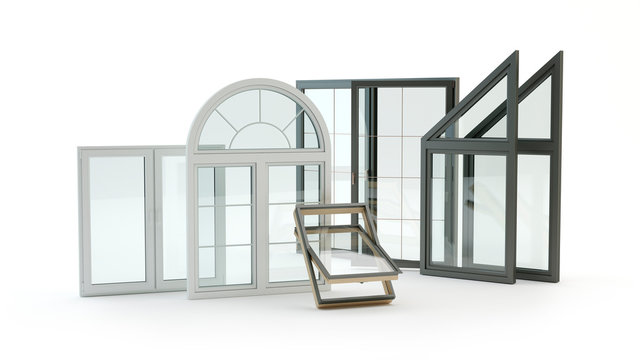 Windows Collection isolated on white, 3D illustration