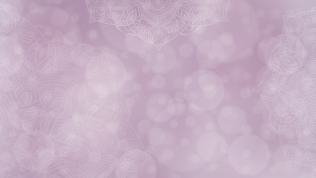 Soft pink and mauve textured bokeh background with mandalas