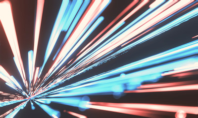 Wall Mural - 3D Rendering of abstract fast moving stripe lines with glowing light flare. High speed motion blur. Concept of leading in business, Hi tech products, warp speed wormhole science.