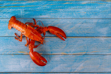 Deurstickers Schaaldieren Cooked lobster with dinner on wooden background